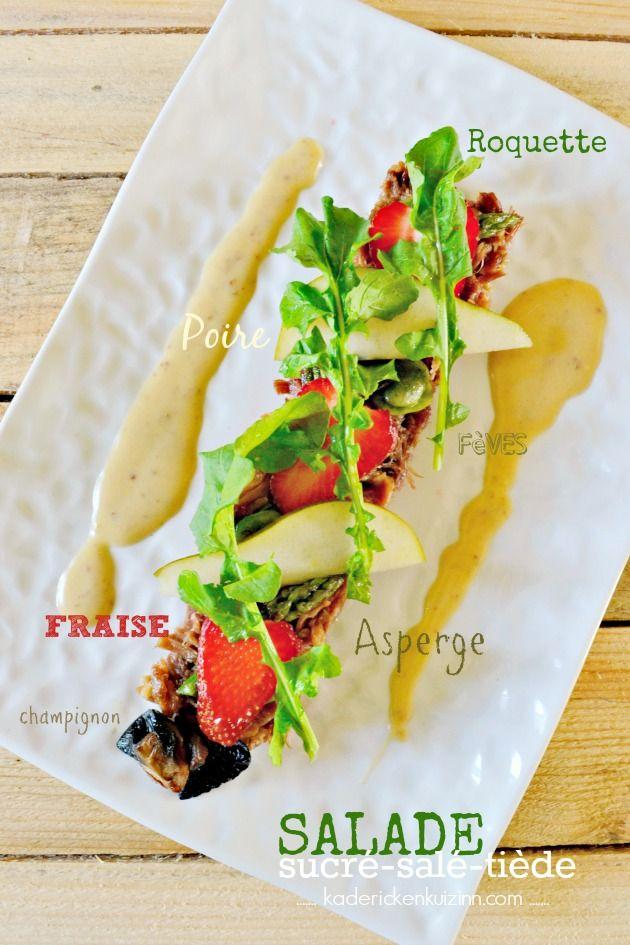 Salade fraise - Salade au confit de canard, roquette et fraises sur kaderickenkuizinn.com #salade #fraise #confitdecanard #sucresale