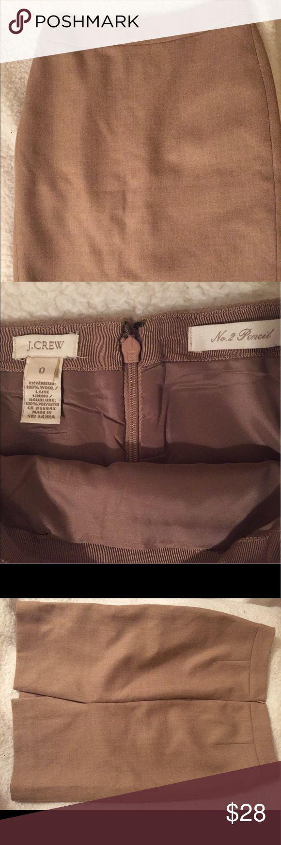 JCrew No.2 tan pencil skirt size 0 JCrew No.2 tan pencil skirt size 0, 100% wool. Double lining J. Crew Skirts Pencil