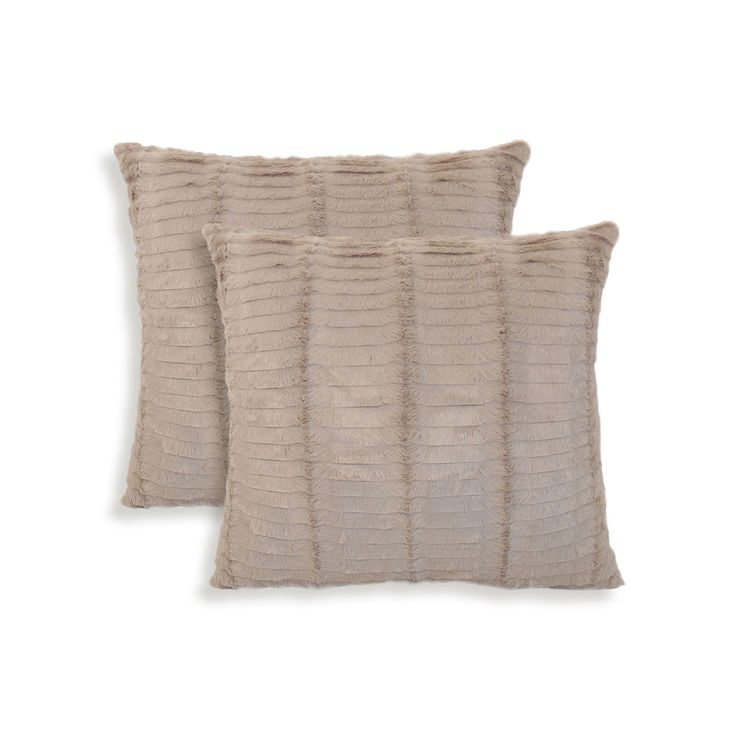 Oracle 2-piece Faux Fur Throw Pillow Set, Beige Oth