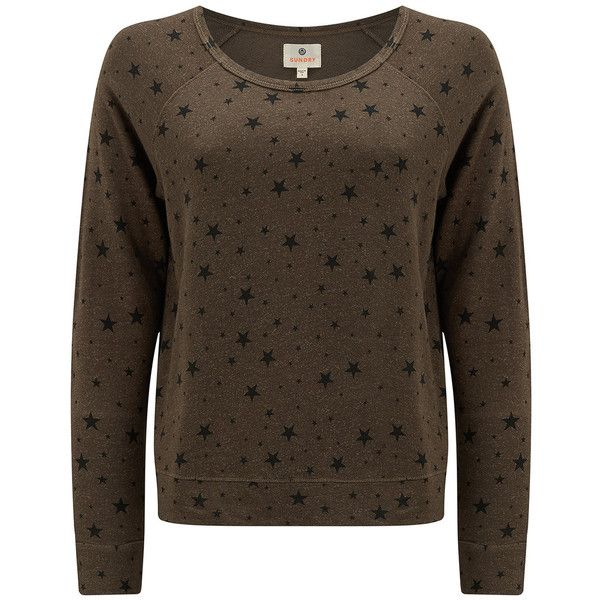 SUNDRY Stars Crop Pullover - Military ($150) ❤ liked on Polyvore featuring tops, military, cut-out crop tops, slouchy tops, crop tops, brown crop top and loose crop tops