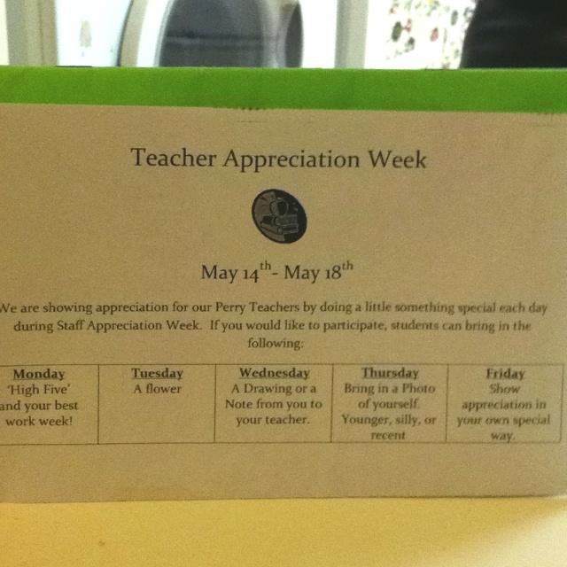 Classroom Ideas For Teacher Appreciation Week ~ Teacher appreciation week happening this