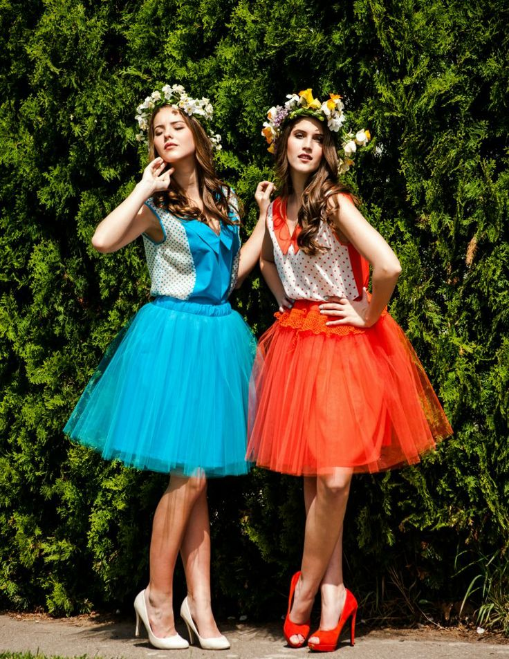 Tulle skirt and blouse silk.