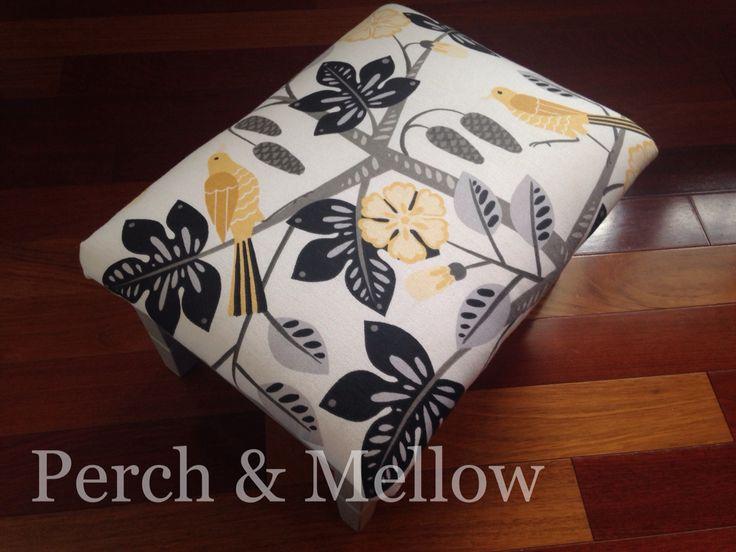 Ottoman, Paris grey with Waverly black bird small talk fabric