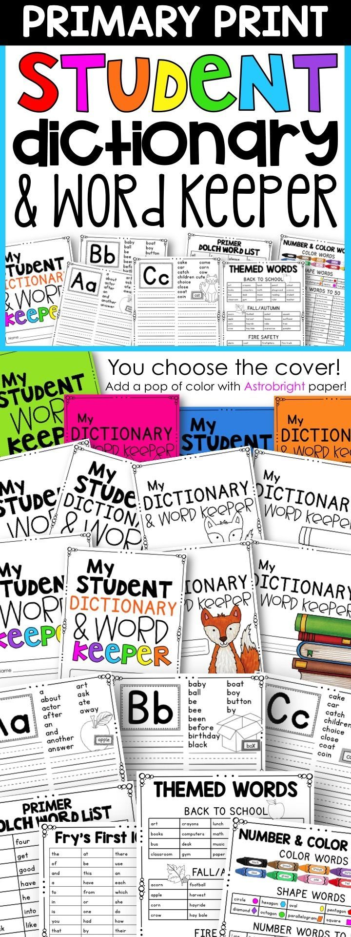 This Student Dictionary and Word Keeper allows your students to store their correctly spelled words in one place throughout the year. It includes both the Dolch and Fry word lists, as well as themed word lists, weather words, shape words, and even number words!