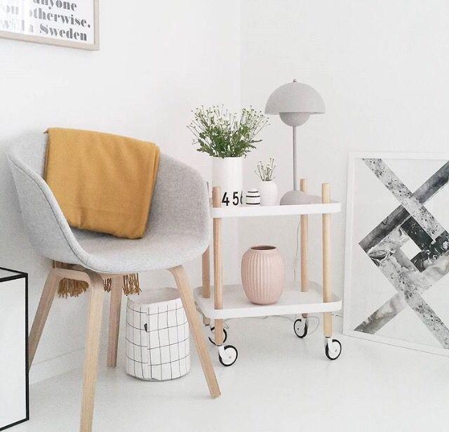 Normann Copenhagen Block table & Verner Panton flowerpot lamp & HAY AAC23 Chair | Shop all in Dómesticoshop.com
