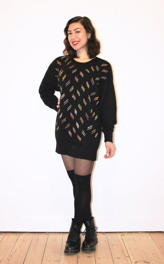 Long black silk & angora beaded sweater by CirkusVintageCph