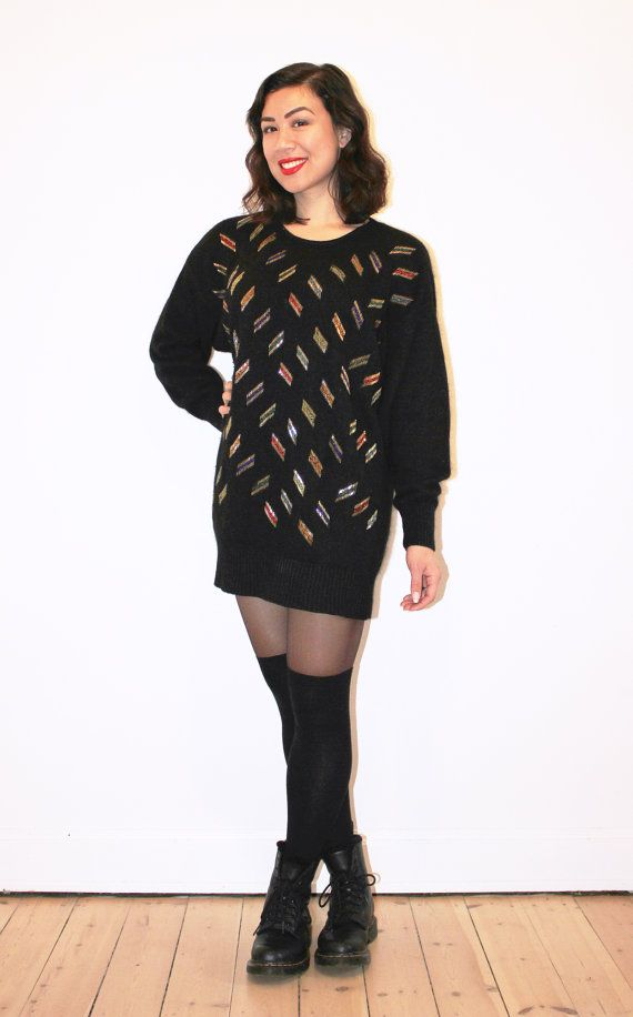 Long black silk & angora beaded sweater by CirkusVintageCph