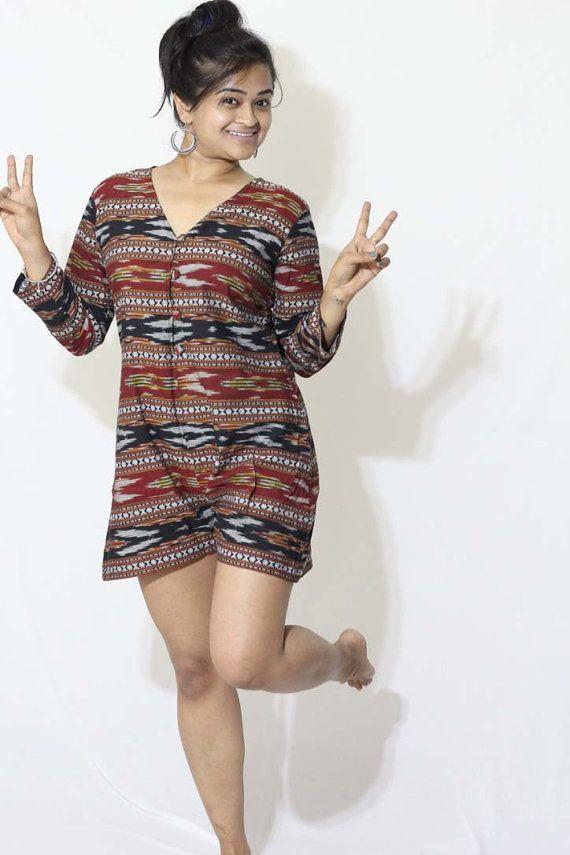 Overall Shorts Khadi Jumpsuit Black Jumpsuit Aztec by aaberi