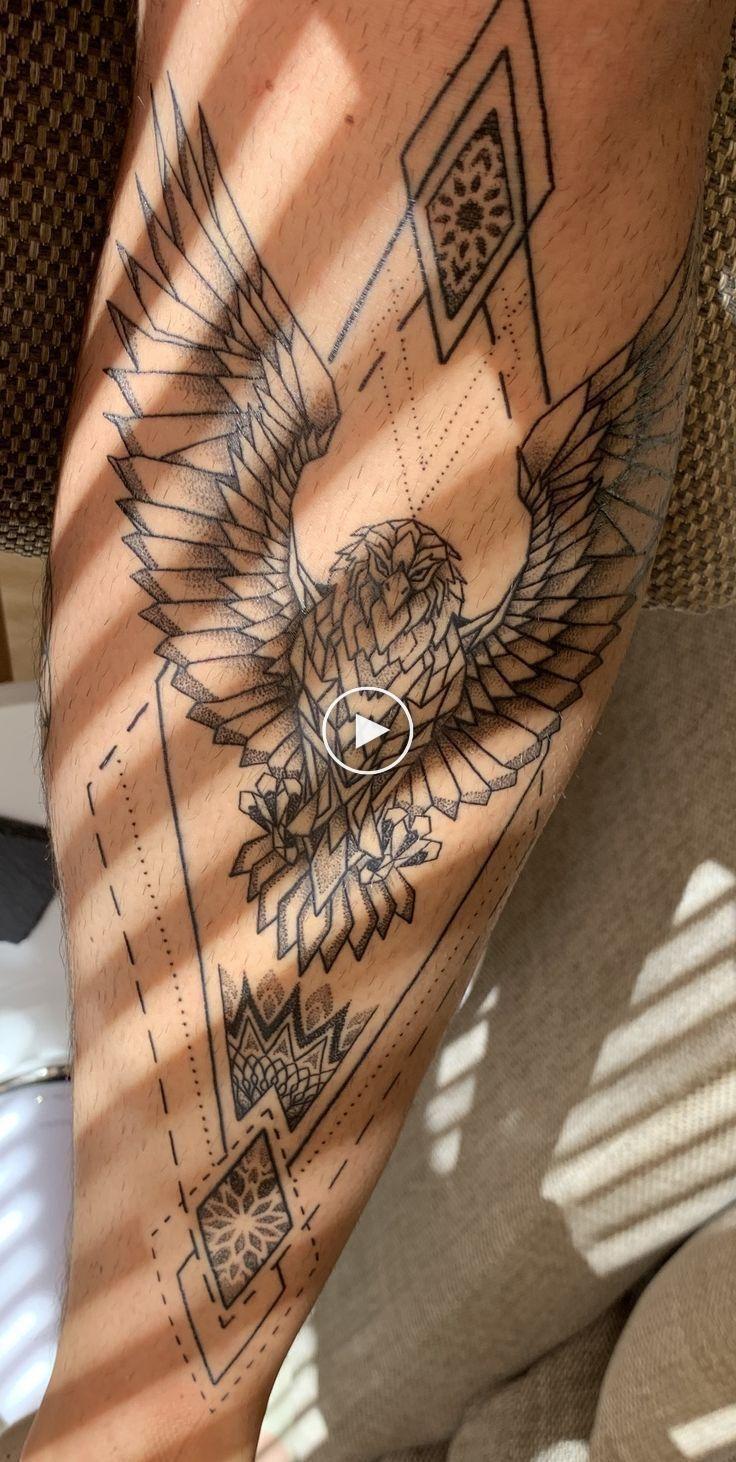 Eagle Leg Tattoo Eagle Tattoo On Shin Geometric Blackwork Tattoo Legtattoo In 2020 Eagle Tattoo Leg Tattoos Small Leg Tattoo Men