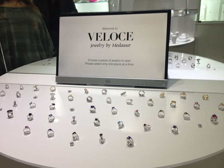 Close up of the ring display @ Veloce  jewelry by Medawar-Software by Tucknologies. Grand opening at the Portage, MI store; and debut of our software. Tucknologies develops software, websites and mobile apps for business. www.tucknologies.com