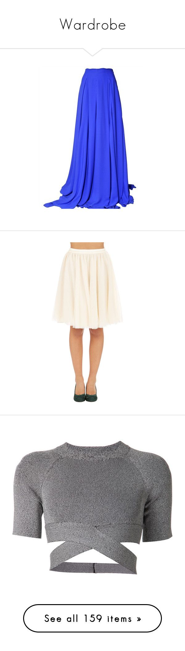"""""""Wardrobe"""" by hallierosedale ❤ liked on Polyvore featuring skirts, bottoms, saias, maxi skirts, blue maxi skirt, antonio berardi, long blue skirt, long skirts, apparel and cream"""