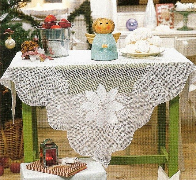Hobby lavori femminili - ricamo - uncinetto - maglia: tovaglia di natale