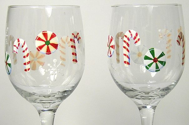 Painted wine glass - Christmas candies