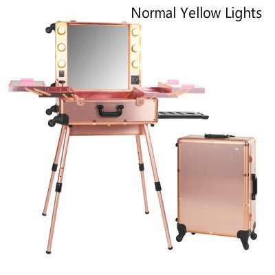 Hot Hot Hot! Portable Hard Side Fashion Color LED Lighted Wheeled Makeup Station Trolley Case 6 Colors