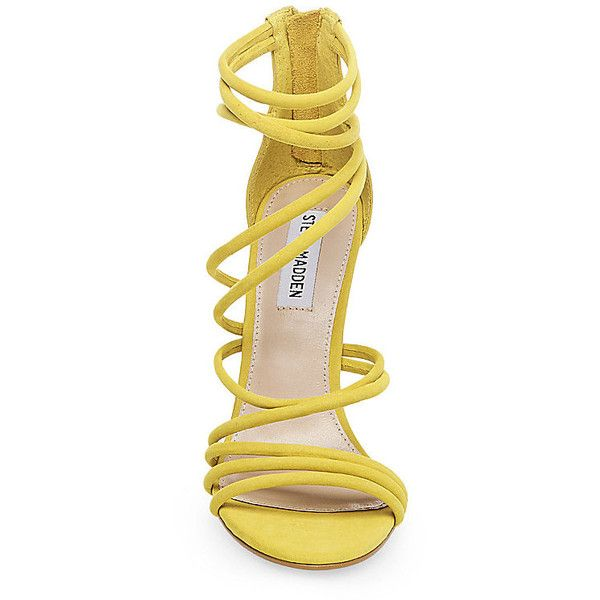 Steve Madden Santi Stilettos Sandals ($110) ❤ liked on Polyvore featuring shoes, sandals, yellow nubuck, high heeled footwear, yellow stilettos, high heel stilettos, high heel shoes and strappy sandals