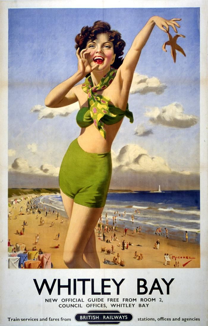 Girl in a green bikini holding a starfish on a poster from the newly nationalised British Railways, advertising Whitley Bay in North Tyneside. 1949