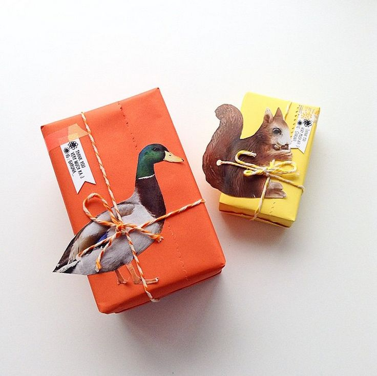 duck and squirrel gift wrapping