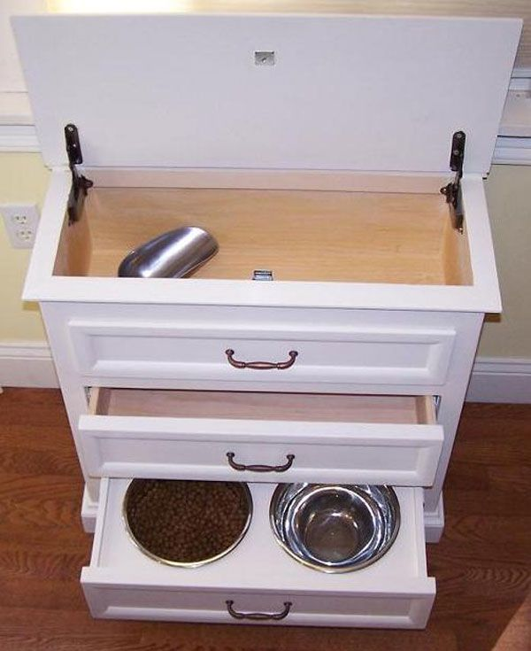 Pet feeding cabinet. Food is easily access and scooped from hinged top. Middle drawer for leashes, treats, etc. bottom drawer is food and water bowl... Probably remove water bowl if drawer was closed as not to limit access to water.