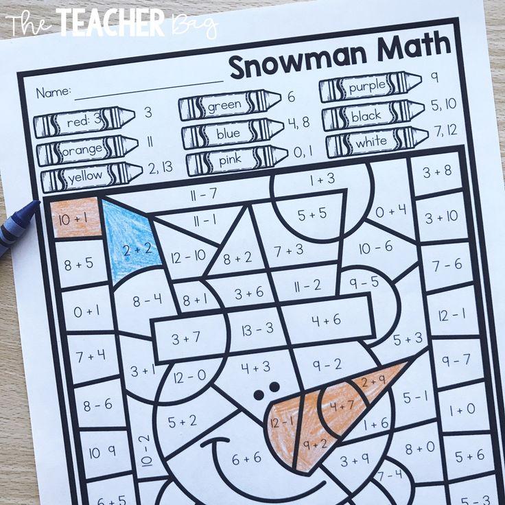 colorbycodesnowman Snowmen math, Fun math activities