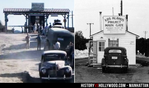 Los Alamos main gate seen on the Manhattan TV show (left) and the real-life Los Alamos Manhattan Project main gate (right). Learn more at Manhattan: History vs. Hollywood http://www.historyvshollywood.com/reelfaces/manhattan/