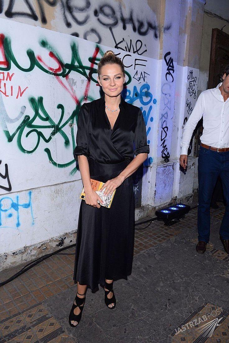 Malgosia Socha wearing Magda Butrym shirt blouse, Zara skort, Aquazzura heels, Olympia Le-Tan clutch and Apart necklace