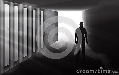 Man silhouette walking in a dark spooky tunnel, black and white  vector illustration, dramatic light and fog.