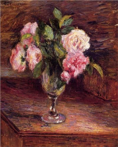 Roses in a Glass - Camille Pissarro (Danish-French, 1830-1903)