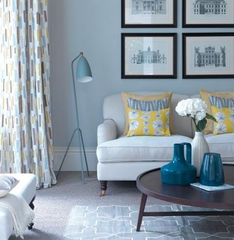 Best Light Blue Grey And Splash Of Yellow Living Room Images