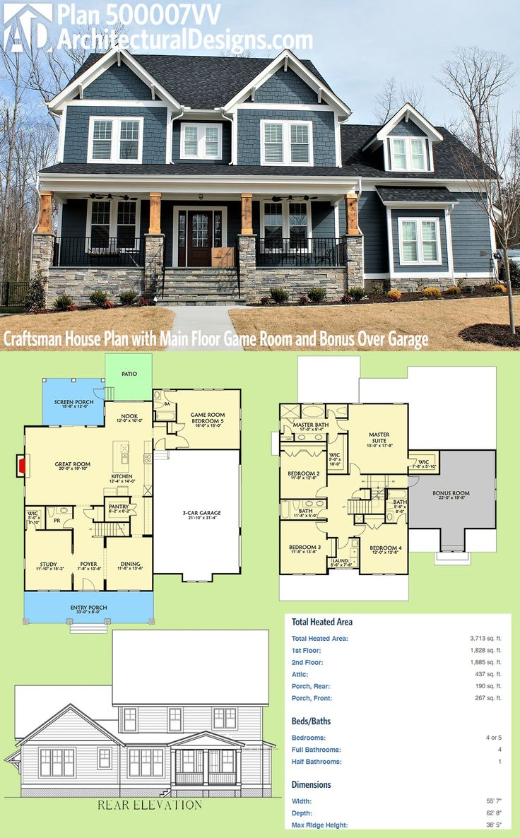 Plan 500007VV: Craftsman House Plan With Main Floor Game Room And Bonus  Over Garage