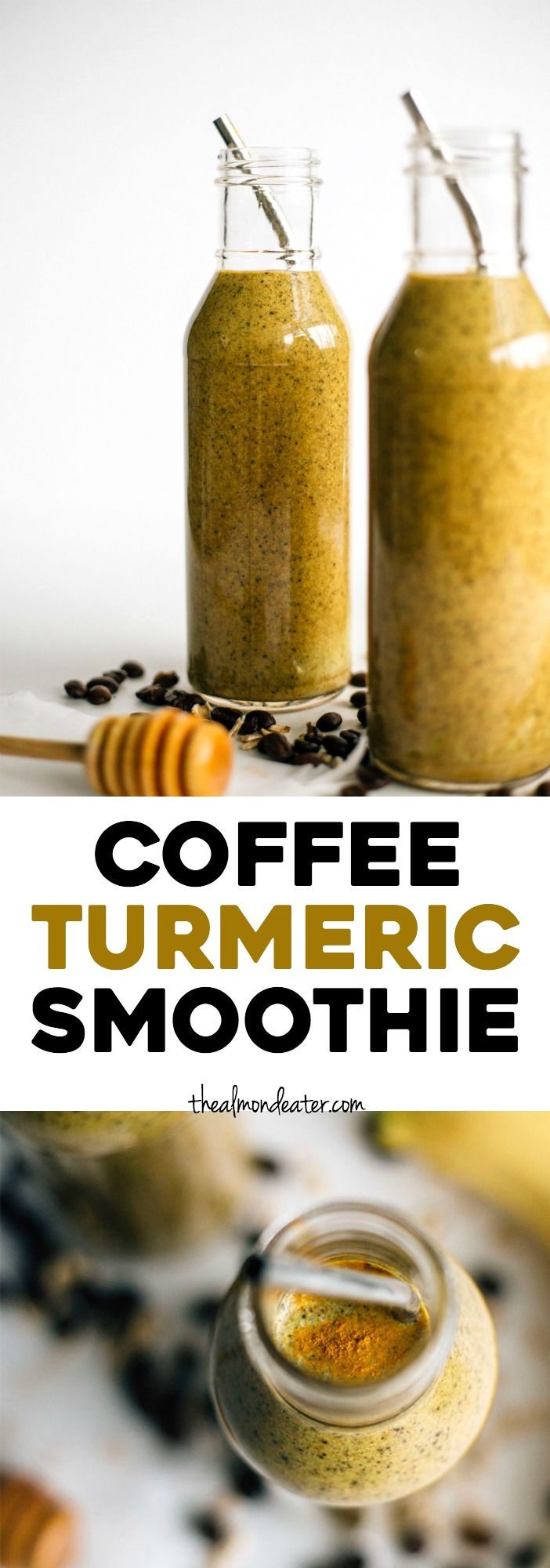 Coffee Turmeric Smoothie | A smoothie full of good-for-you ingredients like turmeric and ginger AND it has coffee in it, too! | http://thealmondeater.com