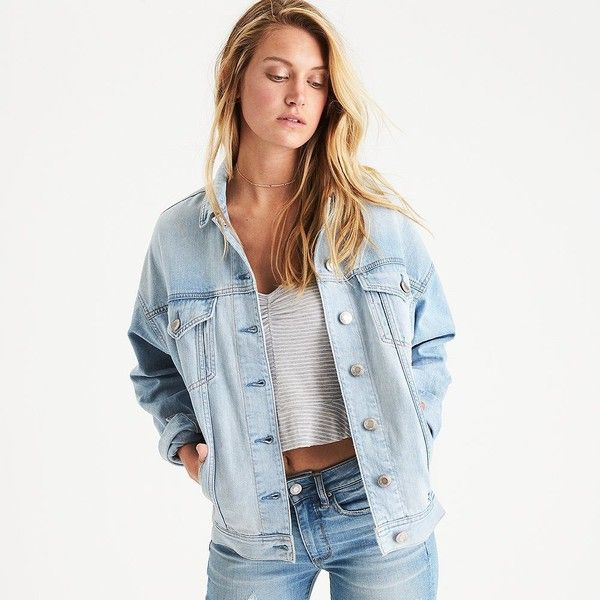 AE Denim Boyfriend Jacket ($49) ❤ liked on Polyvore featuring outerwear, jackets, grey, collar jacket, grey denim jacket, american eagle outfitters, boyfriend jacket and gray jacket