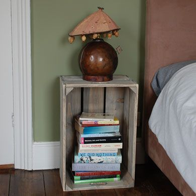 17 best images about bedside tables on pinterest round for Wooden crate bedside table