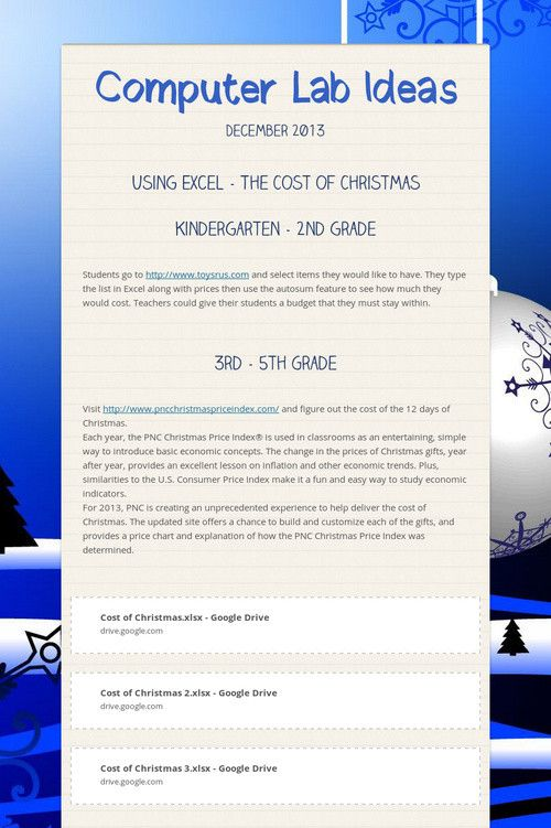 EXCEL awesome lesson: the cost of Christmas (for grades 1-3) Oooh, this is great!