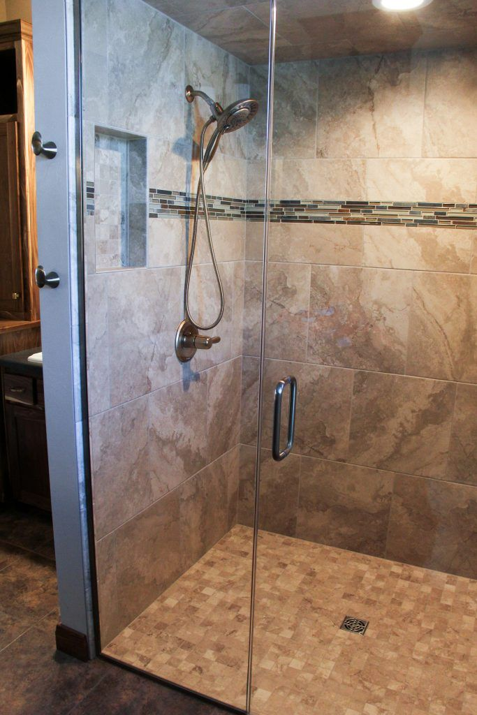 Tiled Shower Montecelio Beige 18x18 And 2x2 Shower Accent Bliss Glass Slate Linear Strip