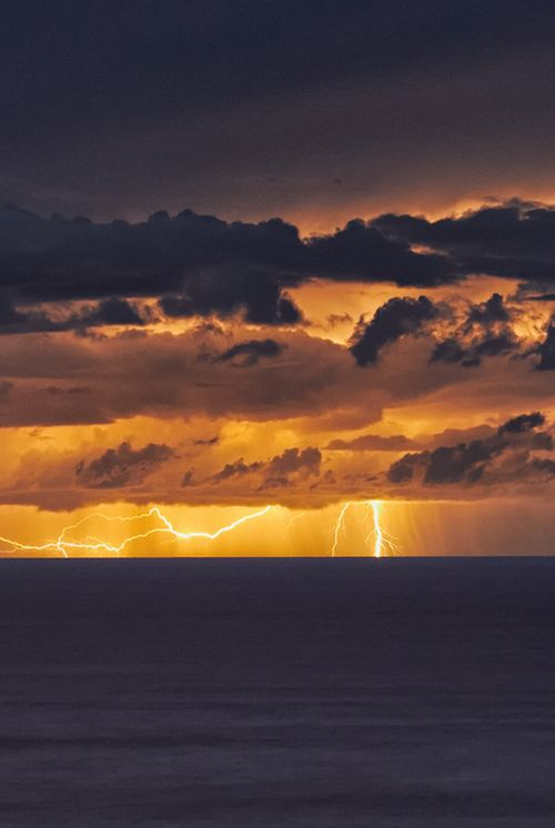 wonderous-world:  East Coast Lightning Storm by mark_mullen As night fell the storm moved offshore and a combination of fork and sheet lightning illuminated the skyline.