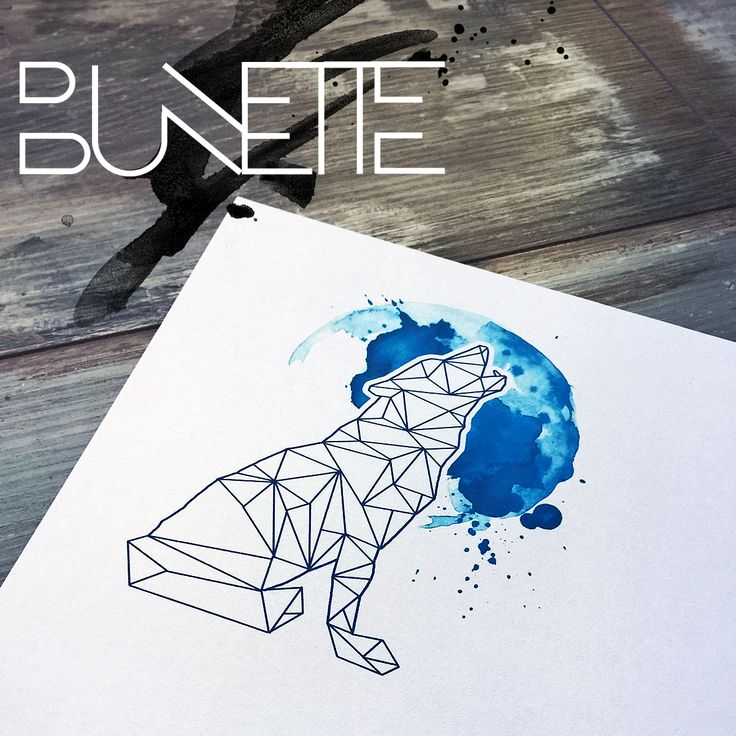 Polygonal wolf watercolour tattoo art watercolor geometric tattoo bunette