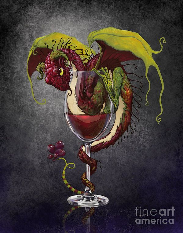Dragon Art Print featuring the digital art Red Wine Dragon by Stanley Morrison