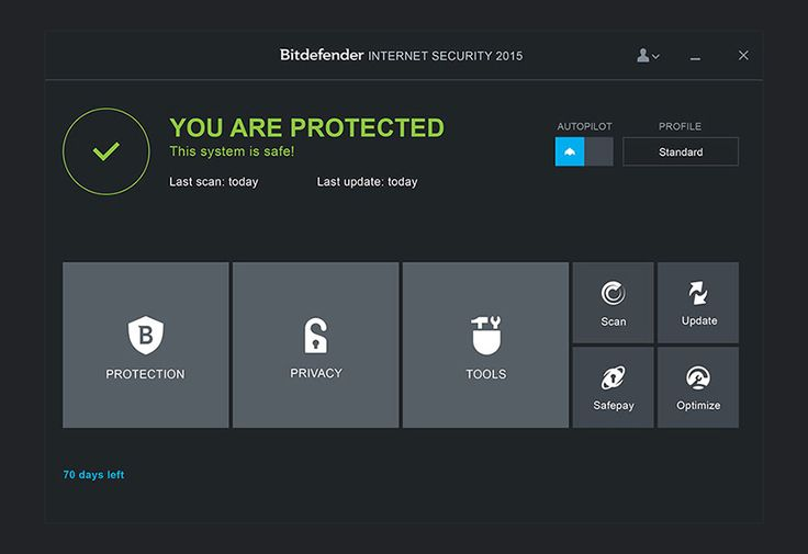 Bitdefender Internet Security 2015 Screenshot home