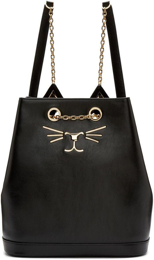 Charlotte Olympia Black Leather Feline Backpack