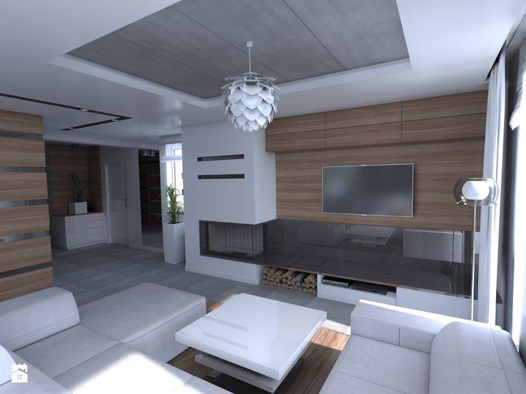 DOM parterowy - Duży salon z tarasem / balkonem, styl nowoczesny - zdjęcie od Interior Design A3D Architekci Krzysztof Gruszfeld