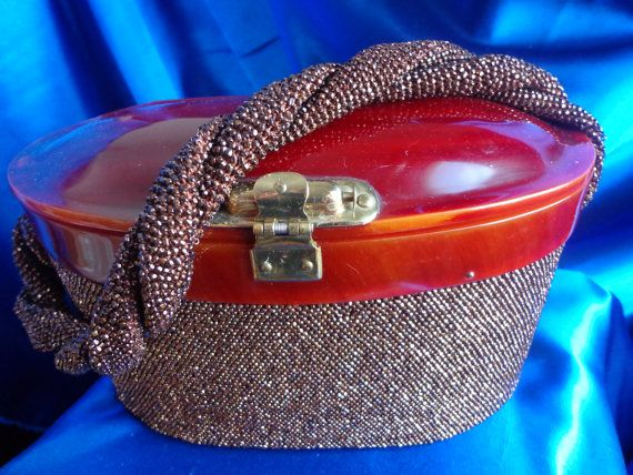 Vintage Chocolate Seed Beaded Purse with Raised Tortoise Color Lucite Lid and Twisted Rope Design Handle