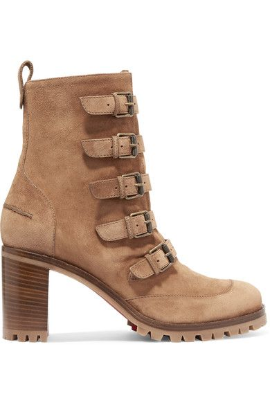 Christian Louboutin - Who Walks Buckled Suede Ankle Boots - Tan - IT40.5