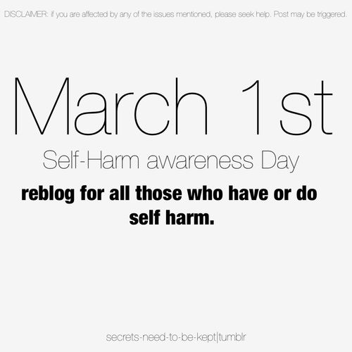 Happy Self-Harm Awareness Day! Please show support by liking this pin and wearing orange! Thank you!