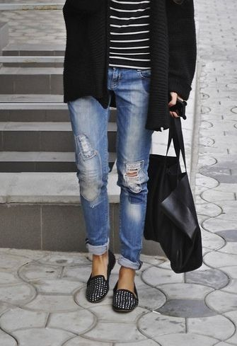 Studded black flats, black cardigan, boyfriend jeans, black and white striped shirt