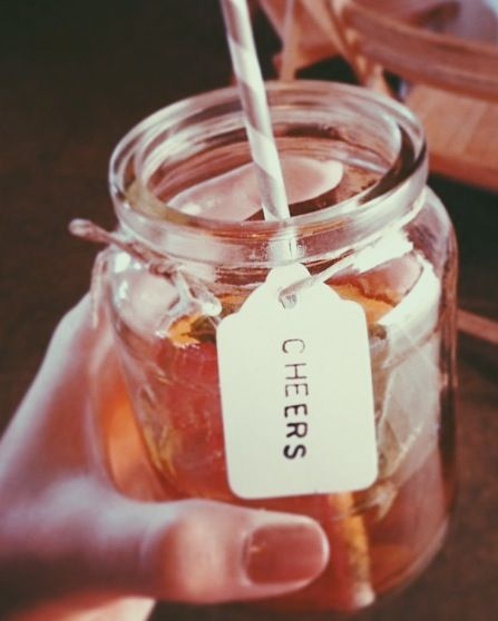 Pimms in a jam jar. Would look great with our vintage paper straws - see http://www.littlecherry.co.uk/Disposable-Party-Plates-Bowls-Cups-Cutlery/Vintage-Style-Paper-Straws/