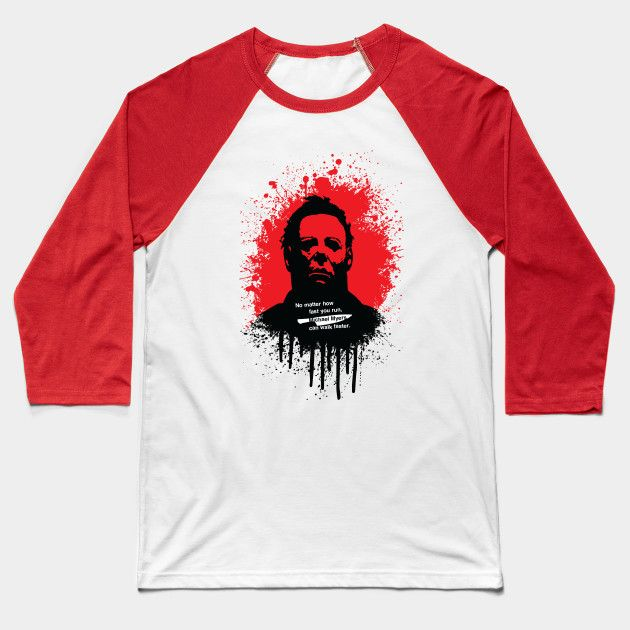 Halloween baseball tee by Fimbis     Michael Myers, horror, art, scary movies, illustration, blood, movie poster, dark, tees, t-shirt, apparel,