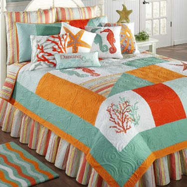 Fiesta Key Coastal Patchwork Quilt Bedding Excellent site for coastal bedding.