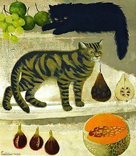 Mary Fedden - Cats and Fruit, 1990
