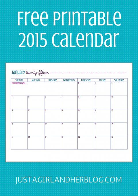 Pin for Later: 20 Free Printable 2015 Calendars to Ring In the New Year Simple and Sweet Just a Girl and Her Blog came up with this adorable month-by-month calendar!