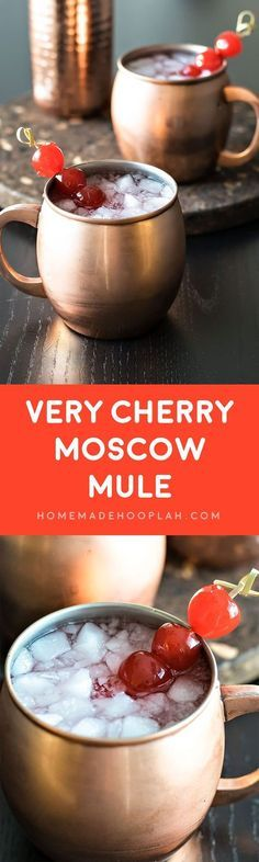 Very Cherry Moscow Mule! A fruity twist on a classic (and popular!) drink, this cherry moscow mule is made with cherry vodka and garnished with maraschino cherries. | HomemadeHooplah.com